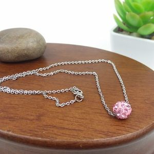 Pink Rhinestone Bead Silver Toned Necklace